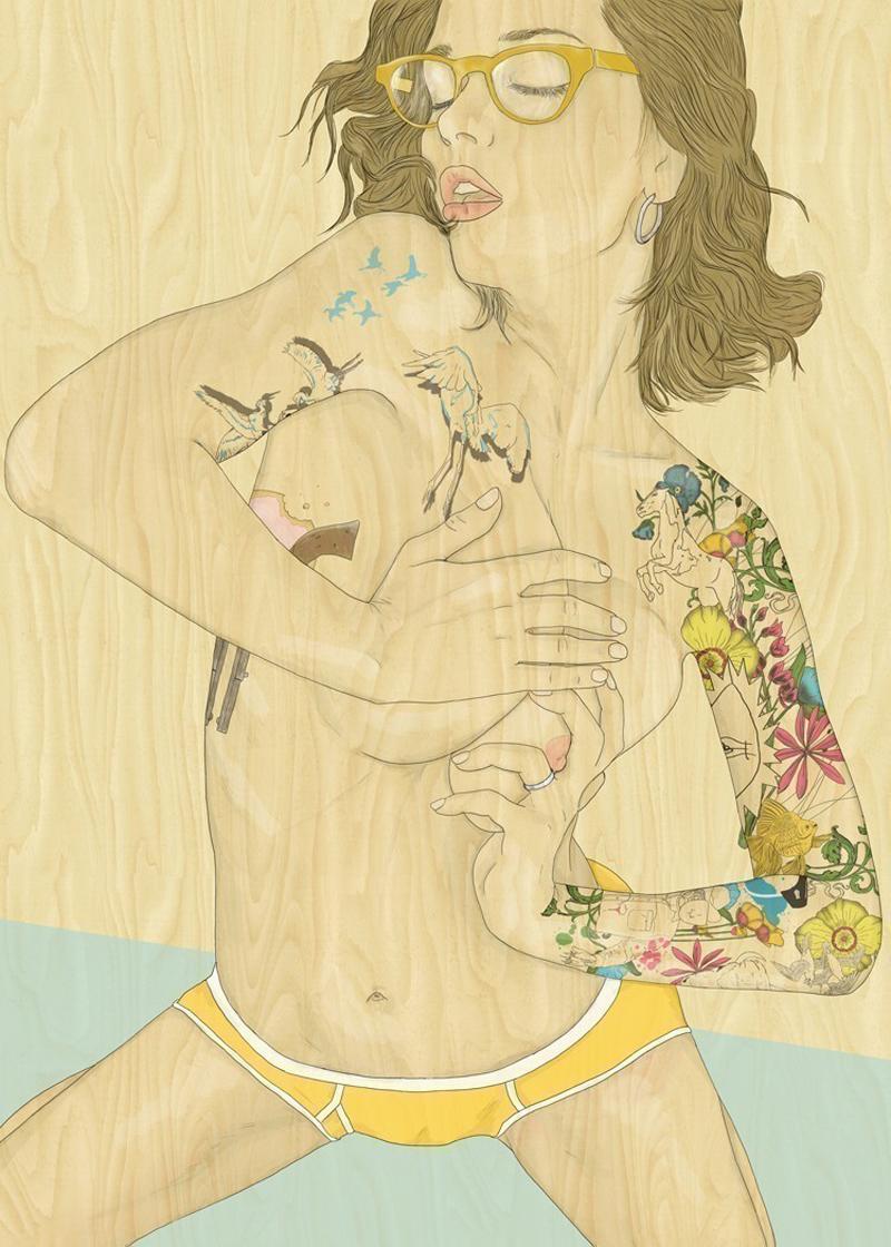 Создает красончые рисунки с ярко выраженным сексуальным подтекстом.
